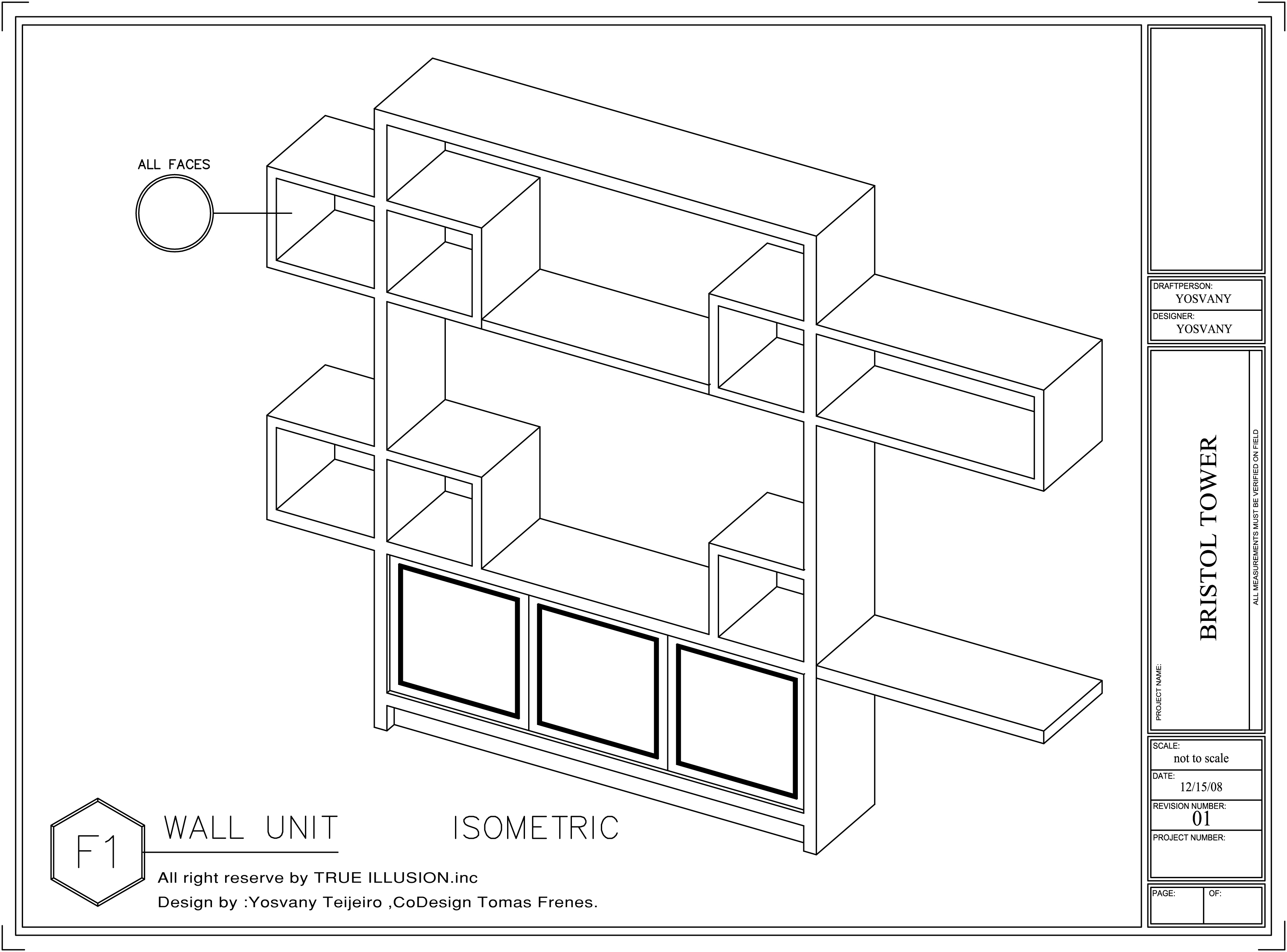 wall unit  shop drawings  bristol tower miami  design by