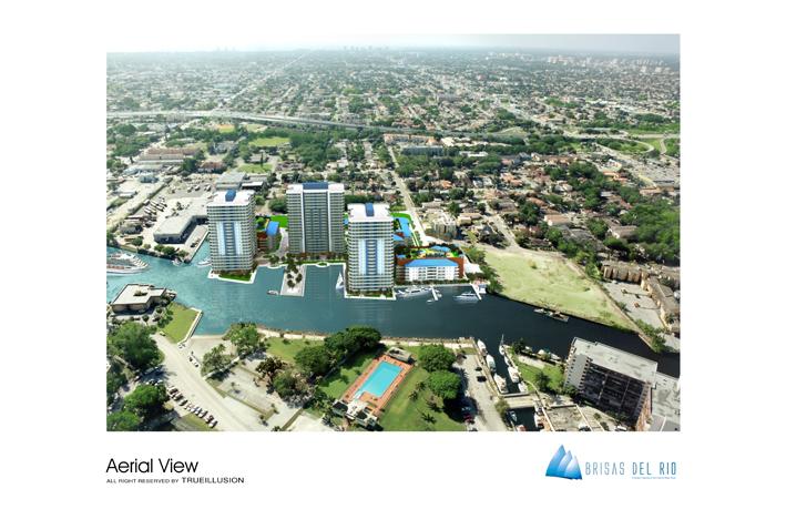 YOSVANY TEIJEIRO 3D Render Aerial View Brisas del Rios Miami