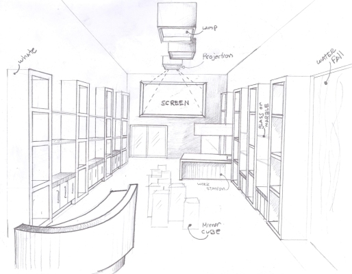 """BAL HARBOUR FLOWER SHOP"" Design by Yosvany Teijeiro 2012. Sketch (perspective view)"
