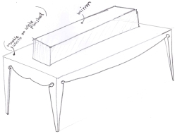 """BAL HARBOUR FLOWER SHOP"" Design by Yosvany Teijeiro 2012. Display table sketch"