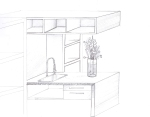 """BAL HARBOUR FLOWER SHOP"" Design by Yosvany Teijeiro 2012. Sink cabinet sketch"