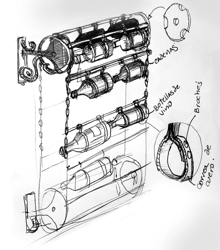 Rolling Wine Storage and Display-Conceptual Sketch